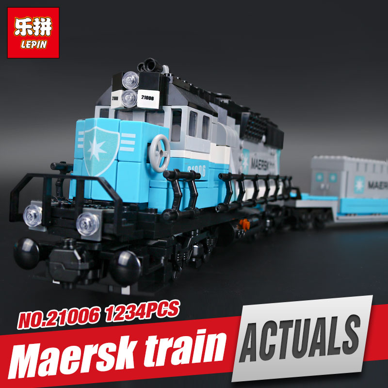 Lepin 21006 1234pcs New Genuine Technic Ultimate Series The Maersk Train Set Educational Building Blocks Bricks Toys 10219 lepin 21006 compatible builder the maersk train 10219 building blocks policeman toys for children