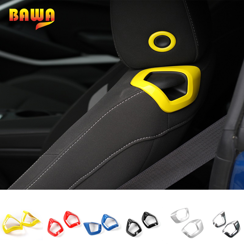 HANGUP Car Seat Backrest Manual Adjustment Handle Trim Sticker ABS Interior Accessories For Chevrolet Camaro 2017 Up Car Styling