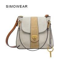 SIMOWEAR 2016 Recién Llegado de marca material de piel de vaca de las mujeres bolsos de hombro Mate-etiqueta de cuero messenger Borsa cloe léren
