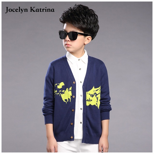 Jocelyn Katrina boy solid color sweater autumn 2016 children's cardigan long sleeve baby boys sweaters kids casual cardigan tops
