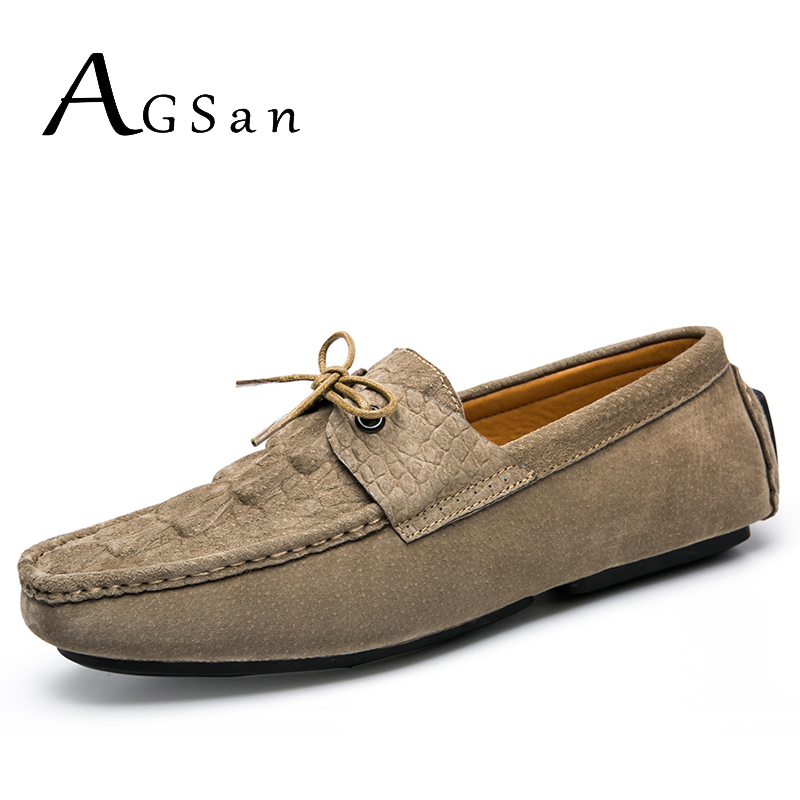 AGSan men driving loafers khaki hombre moccasin slip on male casual shoes 2017 new italy style black lazy flats genuine leather new arrival 2015 men fashion casual suede flats shoes soft lace up non slip moccasin male tos hombre size 41 44