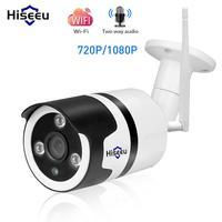 Hiseeu wifi açık IP kamera 1080 P 720 P su geçirmez 2.0MP kablosuz güvenlik kamera metal iki yönlü ses TF kart kayıt P2P bullet