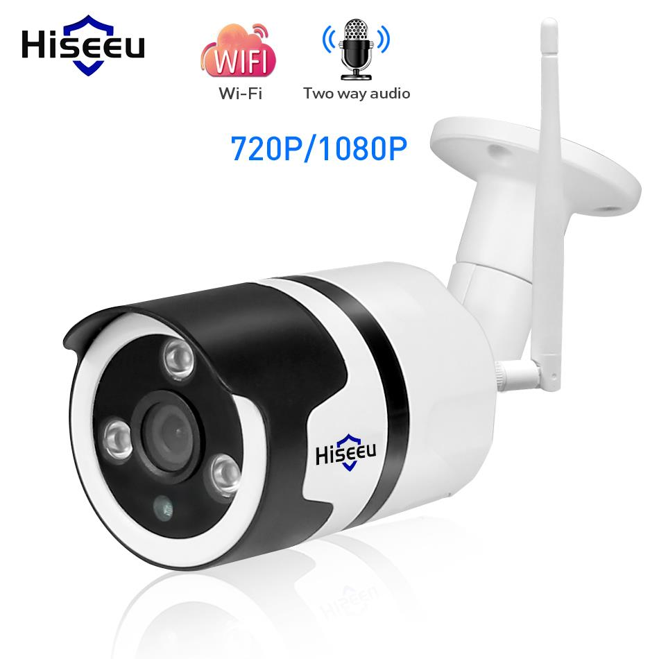Hiseeu wifi IP extérieure caméra 1080 P 720 P 2.0MP étanche sans fil caméra de sécurité en métal à deux voies audio TF carte d'enregistrement P2P bullet