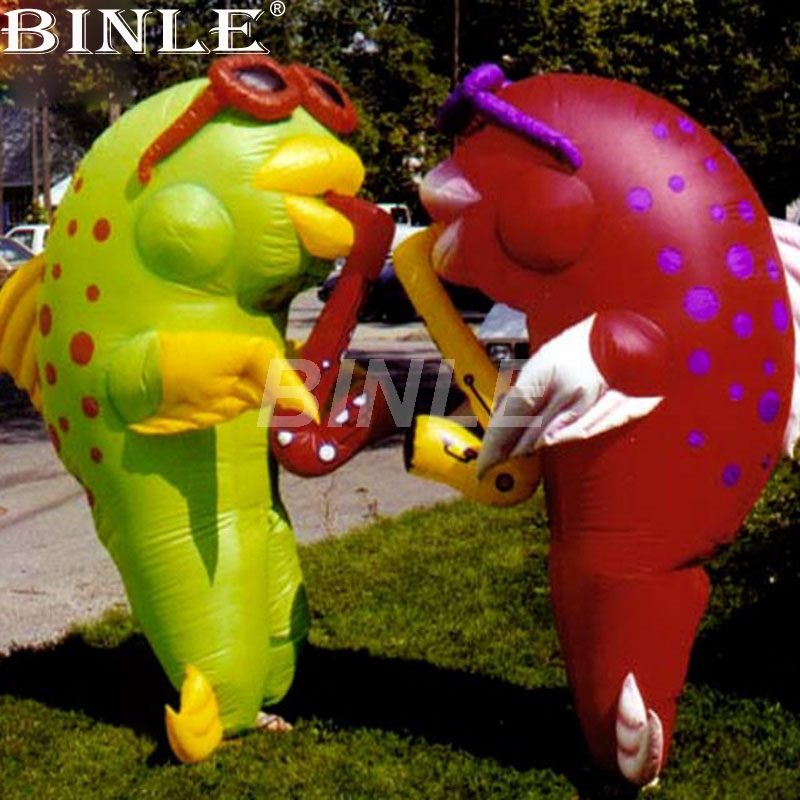 2pcs newly attractive parade walking about funny inflatable fish mascot costume for ocean event