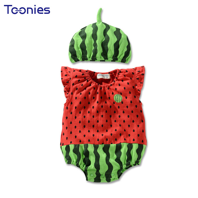 Cartoon Baby Romper Cute Watermelon Lovely Baby Costume Sleeveless Newborn Baby Boy Girl Jumpsuit Infant Baby Clothes 0-24M 3pcs set newborn infant baby boy girl clothes 2017 summer short sleeve leopard floral romper bodysuit headband shoes outfits