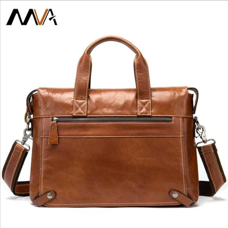 MVA Bag Men's Genuine Leather 14 Inch Briefcase Male Man Laptop Bag Natural Leather For Men Messenger Bags Men's Briefcases 2019
