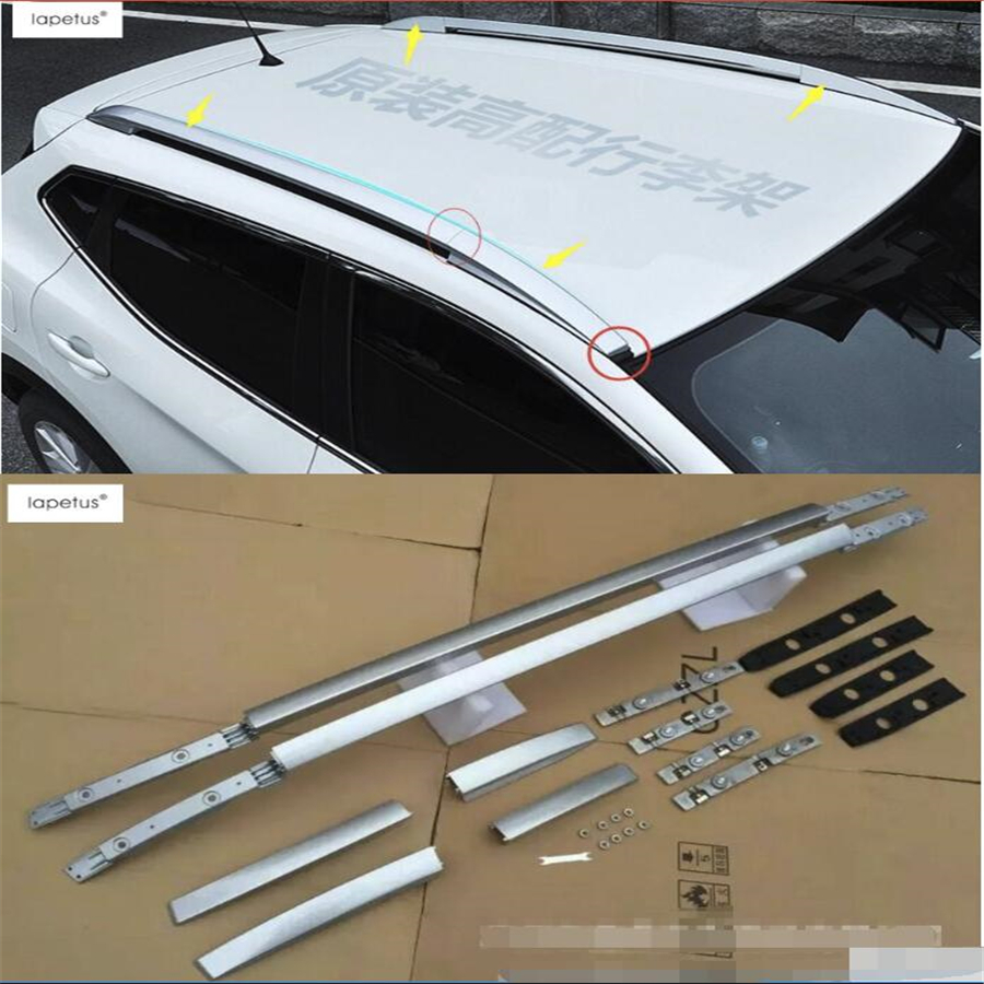 Lapetus Accessories For Nissan Qashqai J11 2014 2015 2016 Exterior Up Top Roof Side Rails Rack Cargo Luggage Molding Cover Kit new for nissan qashqai j11 2014 2015 2016 silver roof rack side rails bars luggage carrier trim