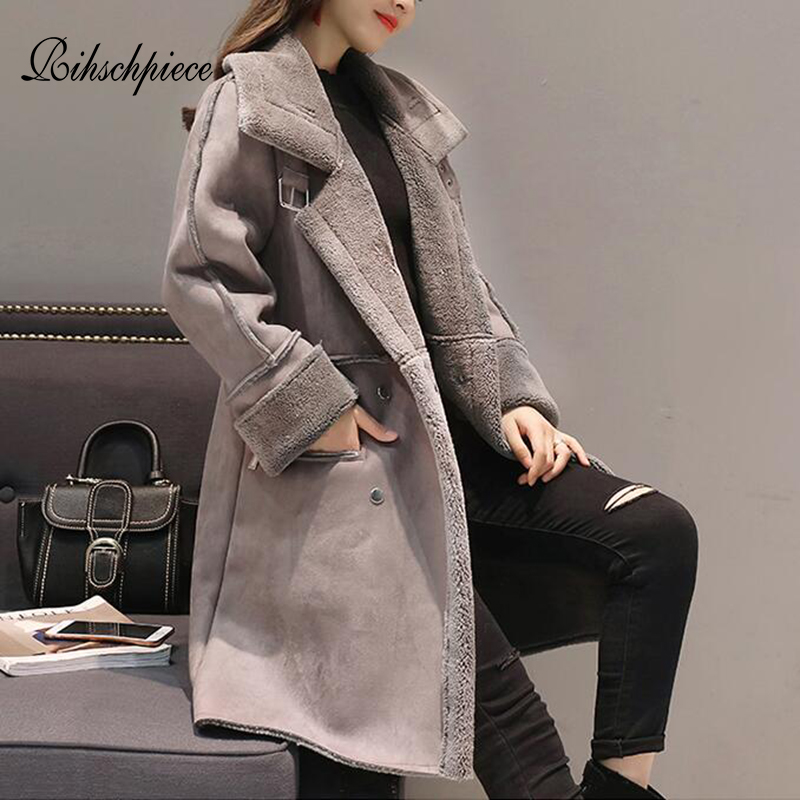 Rihschpiece Winter Suede Long Jacket Women Velvet   Parka   Thick Fur Coat Warm Vintage Casual Pocket Clothes Outwear RZF1520