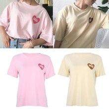 купить Women Round Neck Short Sleeve Summer Heart Milk Container Print Tops Tee Shirt по цене 309.72 рублей