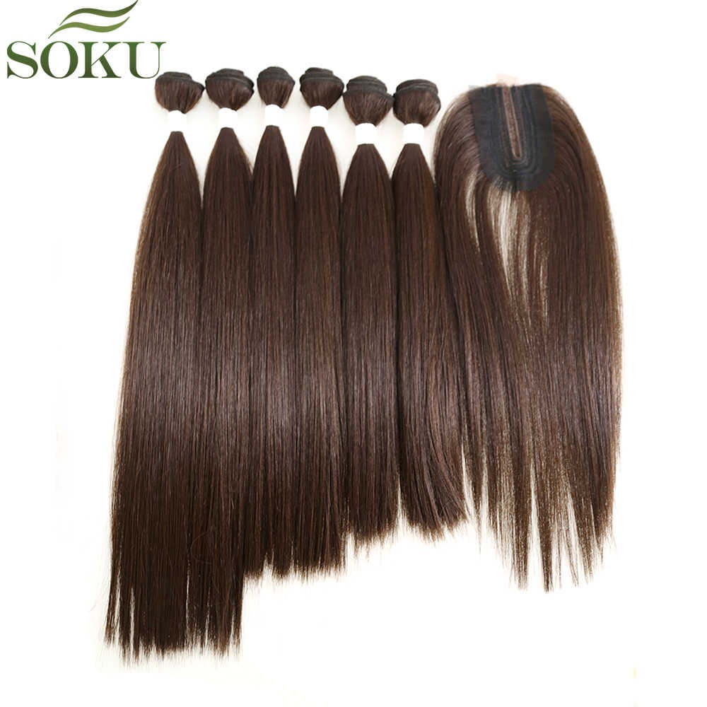 Straight Synthetic Hair Weave 6 Bundles With Small Lace Closure 14-18 inch SOKU Yaki Hair Weaves Bundle Brown Weft Extension