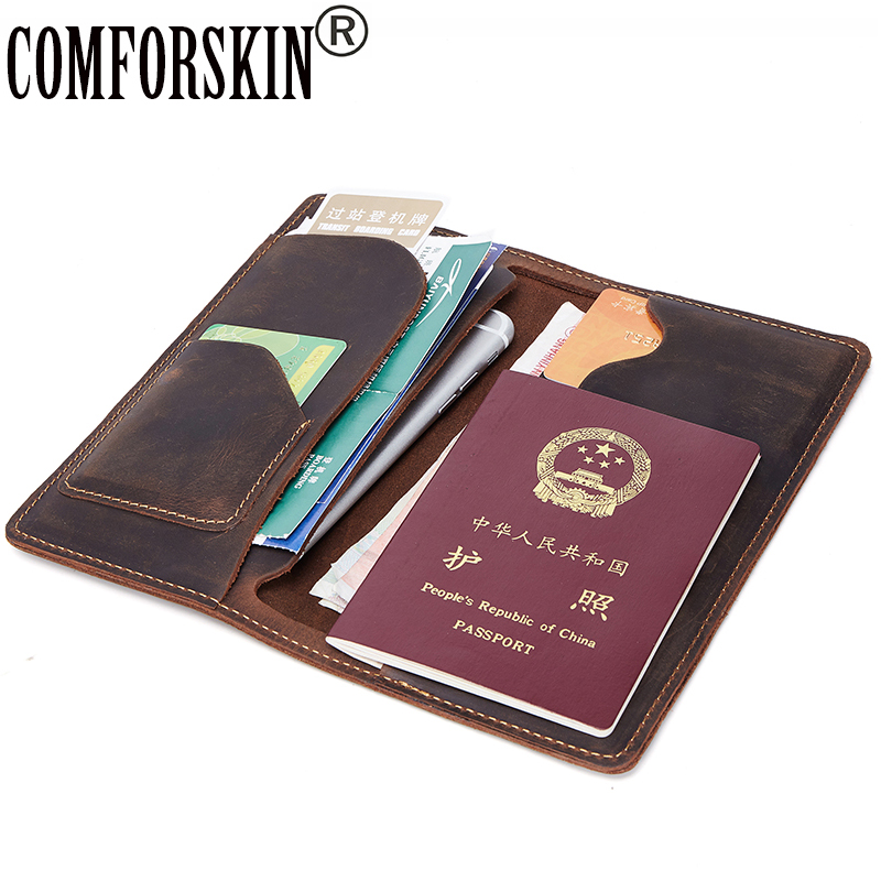 COMFORSKIN Crazy Horse Genuine Leather Men Passport Cover New Arrivals Vintage Men Passport Holders Male Clutch Purses Wallets top brand genuine leather wallets for men women large capacity zipper clutch purses cell phone passport card holders notecase