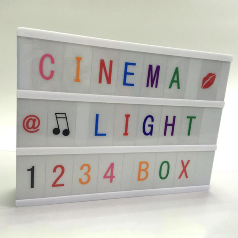 DIY Free Combination Cinematic Light Box With Letters And LED Light A4 Size Luminous Box Color Letters LED Lamps