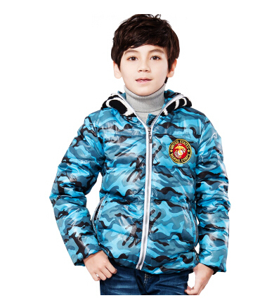 Fashion winter children boys down jackets camouflage long sleeve hooded parkas kids brand designed short zipper outerwear coats