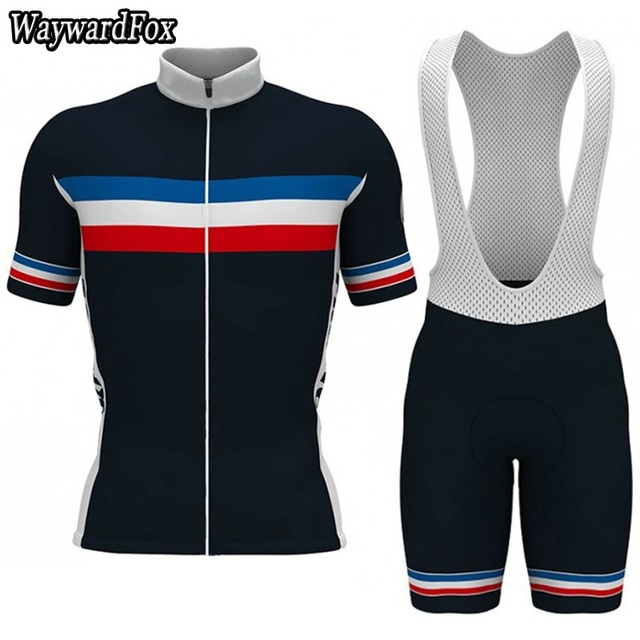 2018 NEW Dark blue France team Cycling Jersey Bib Shorts Kit Men s Cycling  Clothing Short Set Bike Wear Road gelear Road gel pad ba2c181de