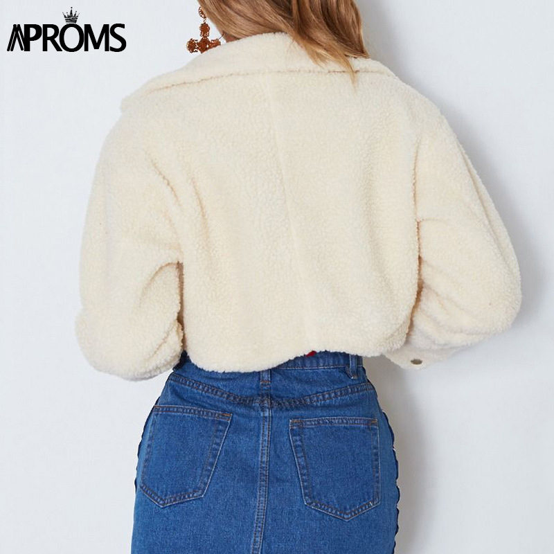 HTB1DDrYdi6guuRkSnb4q6zu4XXaV Aproms Elegant Solid Color Cropped Teddy Jacket Women Front Pockets Thick Warm Coat Autumn Winter Soft Short Jackets Female 2019