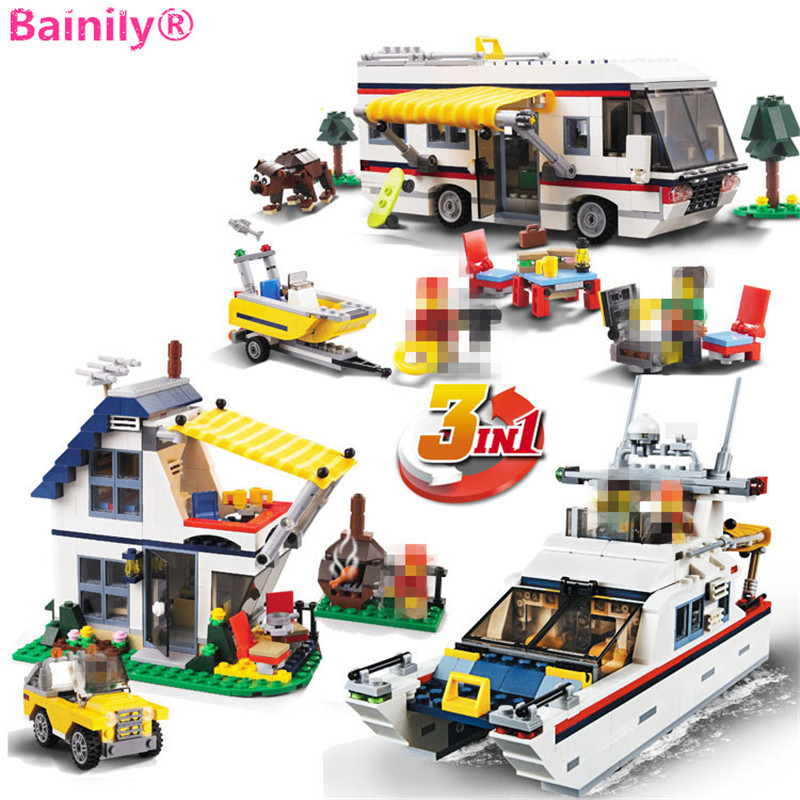 [Bainily]613pcs Creator 3 in 1 Vacation Getaways City Ship Building Blocks Bricks Model Toys For Children lepin city creator 3 in 1 beachside vacation building blocks bricks kids model toys for children marvel compatible legoe