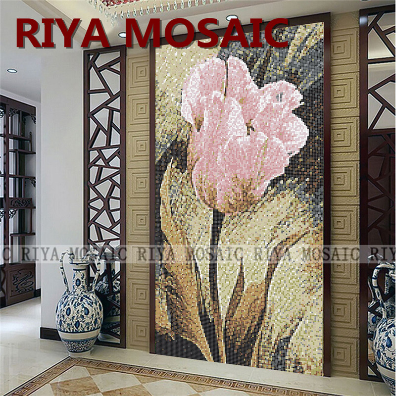 Free Shipping RIYA Glassmosaic Tile Art Puzzle 8MMsmall Particles Background Wall Decorative Painting Pink Tulip A Picture/lot