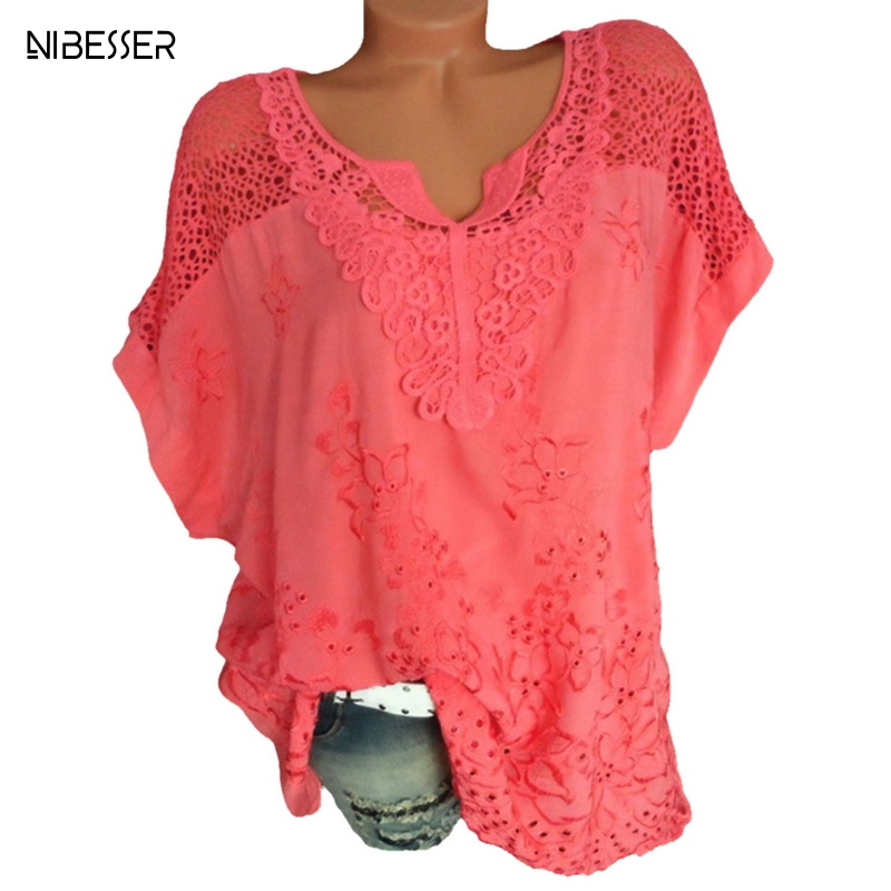 NIBESSER 2019 Spring Summer Women   Blouse     Shirt   Lace Print Chiffon   Shirts   Sexy V Neck Harajuku Casual Loose Blusas Tops Plus Size