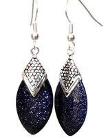 Wb003 PRETTY Silver Vintage Style Dangle Blue Aventurine Earrings