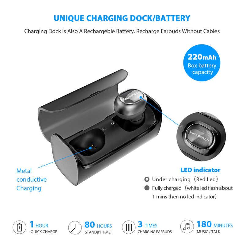 SoundPEATS Bluetooth TWS bezprzewodowe słuchawki douszne Mini niewidoczne HiFi bezprzewodowy zestaw słuchawkowy stereo słuchawka do iPhone'a zbudowany mikrofonem okno ładowania