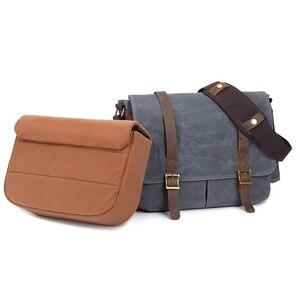 Image 3 - Waterproof Batik Canvas+Leather Camera Bag with Photo Pouch Vintage DSLR Case Casual Shoulder Messenger Photography Bag