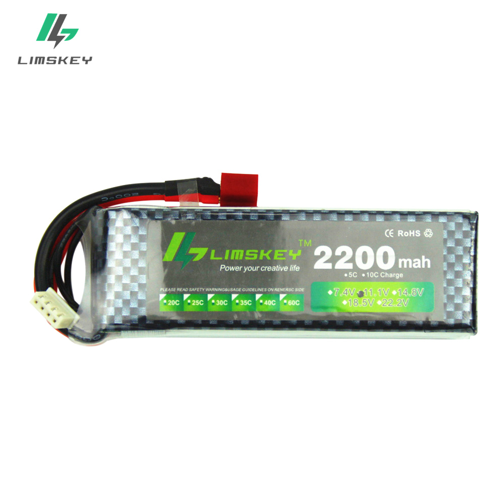 Limskey Power Brand New <font><b>Lipo</b></font> Battery 11.1V <font><b>2200</b></font> <font><b>mAh</b></font> 25C MAX 35C <font><b>3S</b></font> T Plug for RC Car Airplane T-REX 450 Helicopter Part image