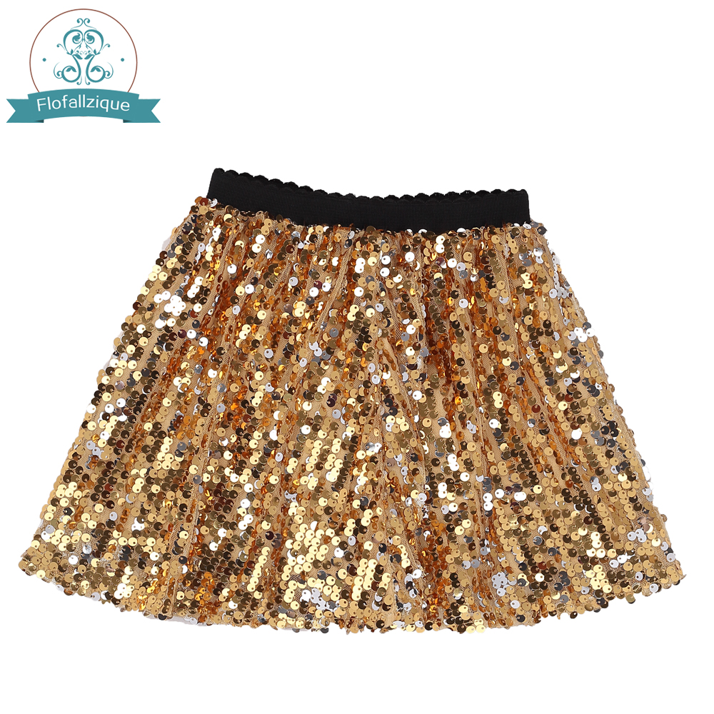 Baby Girl skirt 2018 Summer Gold Sequin dancing Elastic Waist Petticoat Pettiskirt For Girl Tutu Mini Toddler Girls skirt 1-12Y palm leaf print elastic waist skirt