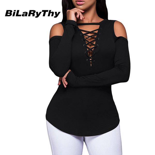 BiLaRyThy Otoño Invierno Mujer Casual Solid Tops Tees Sexy Cruz V Cuello Ahueca Hacia Fuera Manga Larga T Básico Camisetas