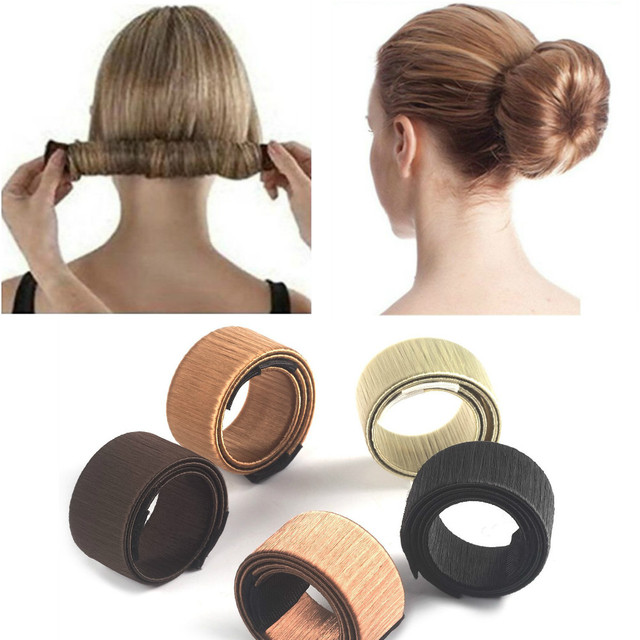 6 colores herramienta de bricolaje accesorios de pelo peluca sintética Donuts Bud cabeza banda bola toque francés magia Bun Maker dulce pelo trenzado