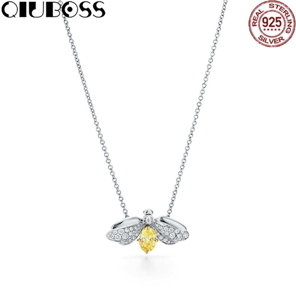 QIUBOSS TIFF 925 Sterling Silver Pendente Firefly Con Diamante Giallo Pendant Necklace Fashion Clavicle Chain DIY Gift Jewelry qiuboss 925 sterling silver silver heart shaped enamel pendant necklace charm women clavicle diy gift jewelry