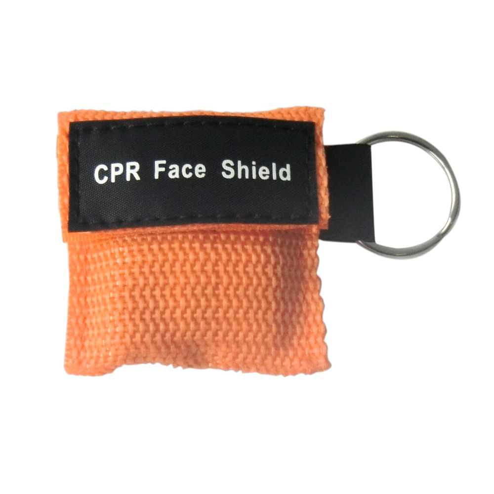 250 pcs/Pack CPR Resuscitator Keychain Mask Key Ring Emergency Rescue Face Shield orange