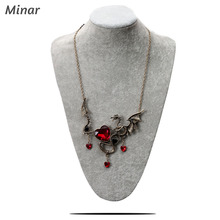 Dragon Choker Necklaces For Women fashion Vintage Punk Necklace Antique Gold Ancient Dragon Pendants Heart Shape Gothic Jewelry gothic dragon