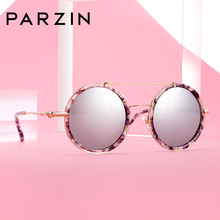 PARZIN New Fashion Round Sunglasses Elegant Women Acetate Frame Mirror Lenses Driving Sun Glasses 2019