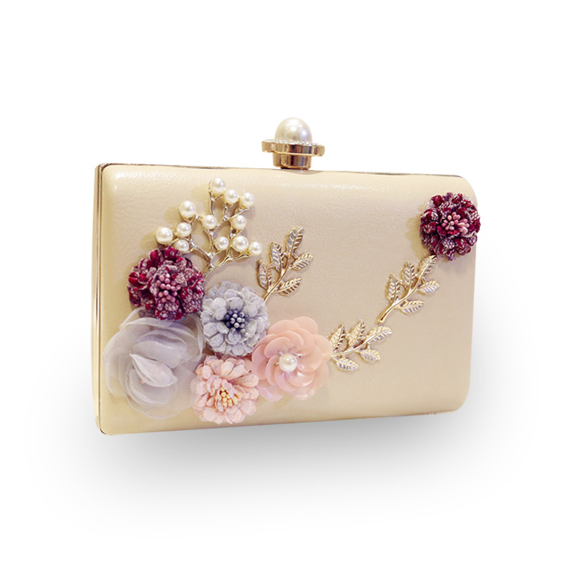 Mrs win Luxury Handmade Pearl Flower Evening Bag Women Fashion Day Clutch Wedding Party Bridal Small Handbag Purse With Chain104