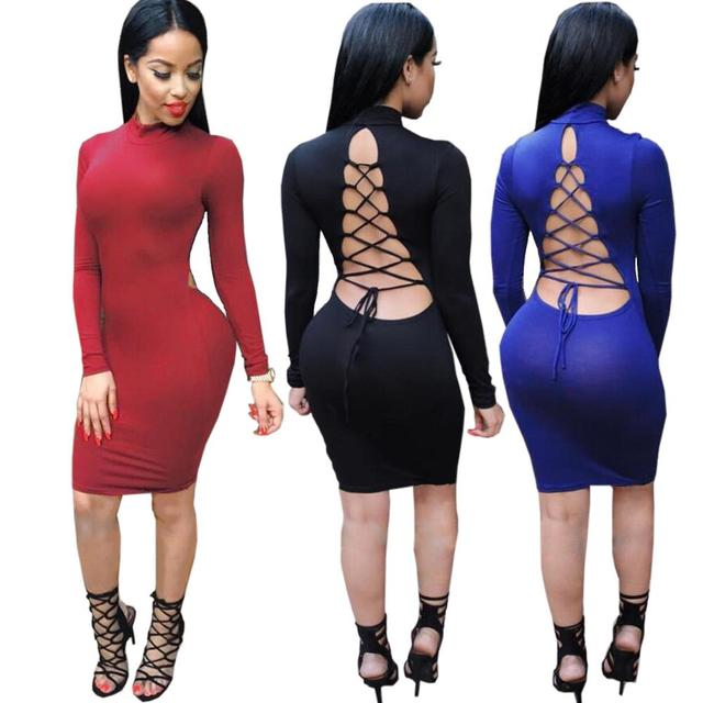 d358adb5b07a1 US $13.59 |2016 New Vestidos Women Party Bodycon Bandage Pencil Dresses  Stretch Long Sleeve Sexy Club Wear Winter Spring Hollow Out Dress-in  Dresses ...