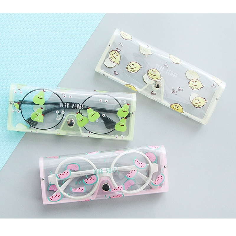 Kawaii Cartoon Animals PVC Glasses Box Cute Girl's Transparent Glasses Case protable Eyewear Boxes Eyewear Accessories #41512#