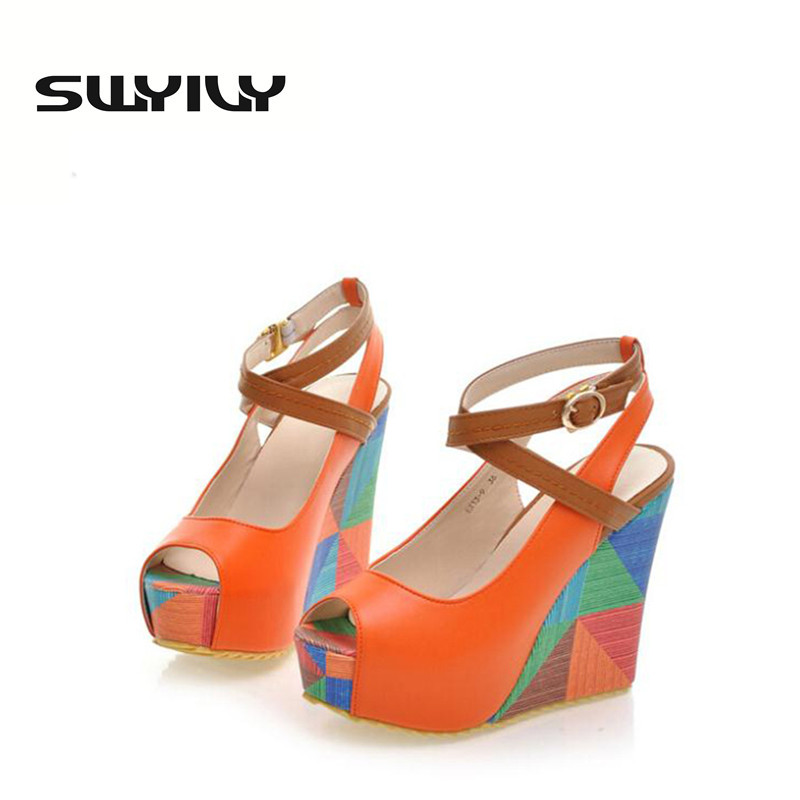 ФОТО Hot Sale Summer European Fashion Women's Wedges Sandals High Heels Platform Open Toe Ankle Straps Shoes Summer Pumps