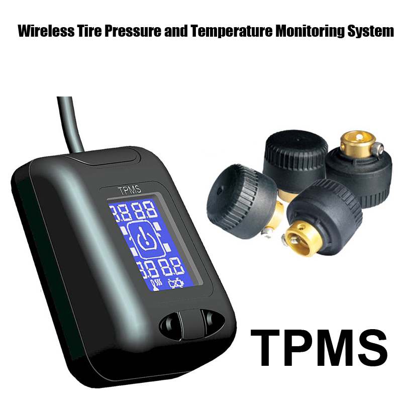 Tire Pressure Monitoring System Car TPMS with 4 pcs External Sensors high Low pressure high temperature warnings cell phone security anti theft display stand with alarm and charging function for mobile phone retail store exhibition 10pcs lot