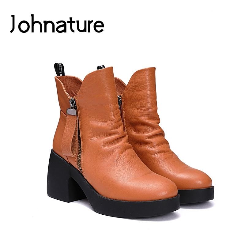 2019 Autumn Winter New Martin Boots Retro Genuine Leather Round Toe Casual Zipper Platform Women Shoes