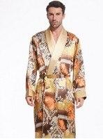 Для мужчин Love темпера Для мужчин t дорогостоящим тяжелые шелковые пижамы с длинными рукавами халат длинный шелковый халат шелк одежда (дома