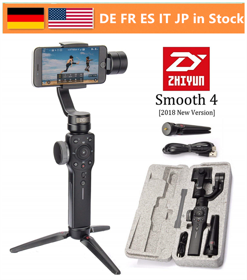 Zhiyun Smooth 4 3-Axis Handheld Gimbal Stabilizer w/Focus Pull & Zoom for iPhone Xs Max Xr X 8 Plus 7 6 SE Samsung Action Camera for iphone xs max xr xs x selfie stick for iphone x 8 7 6 6s plus 5 5s wired selfie stick extendable monopod for lightning