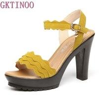 GKTINOO Fashion Female Sandals Summer Faux Suede Women S High Heel Shoes High Heels Party Women