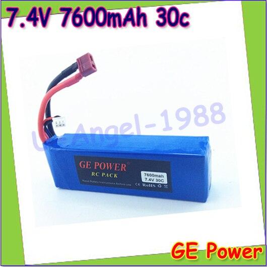 1 pcs GE Power haute fréquence Lipolyer 7.4 V 7600 mAh 30C 2 s Lipo batterie pour Rc Car Traxxas HPI FLUX gros