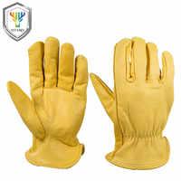 OZERO guantes de trabajo de cuero de cabra protección de seguridad de corte de seguridad guantes de carreras de caza de garaje para hombres 0004