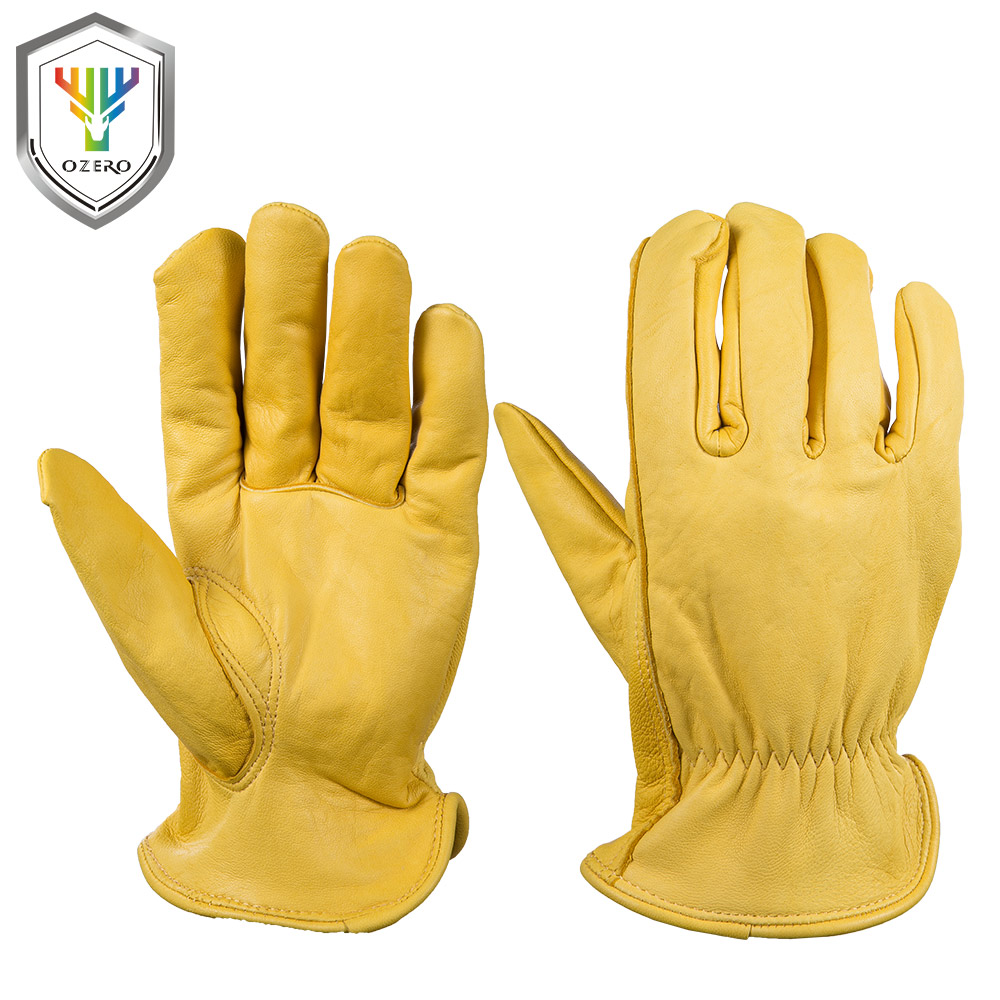OZERO Work Gloves Goat Leather Security Protection Safety Cutting Working Repairman Garage Hunting Racing Gloves For Men 0004 цена