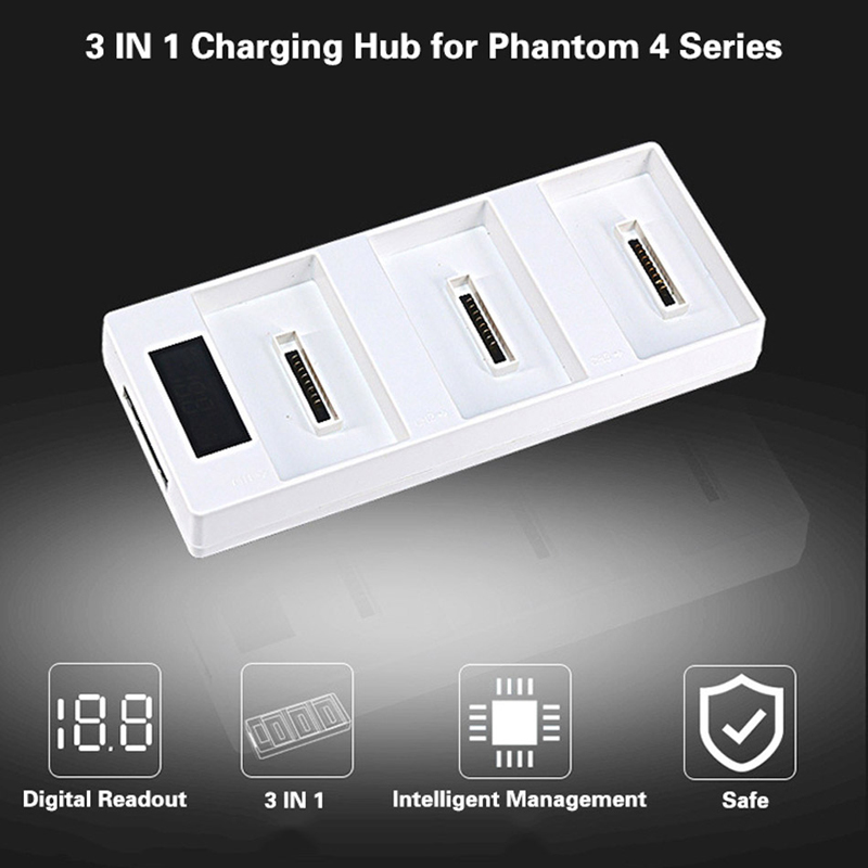 3 IN 1 Parallel Charging Hub Battery Charging Board with LED Digital Readout for DJI Phantom