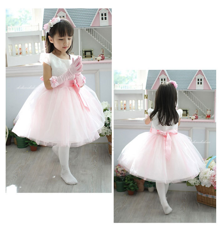 Retail-New Girls Princess Dresses Pink Chiffon TUTU Girl Party Dress for baby and children wedding Free shipping new hot sail 2015 children girl chiffon top skirt set baby pettiskirt tutu top girls tutu skirt free shipping
