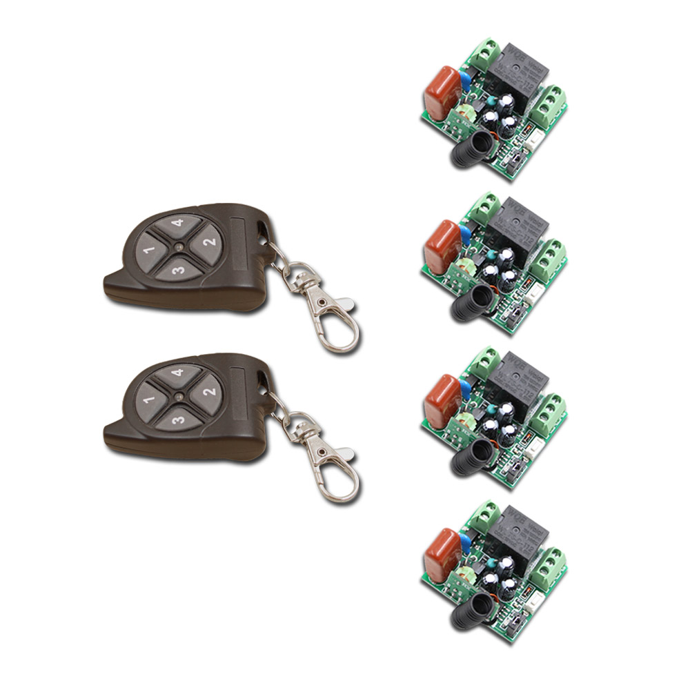 Hot Sales AV220V Wireless Remote Control Switch with 4-key Mini Remote Kit For Light and Garage Door Home keyshare dual bulb night vision led light kit for remote control drones