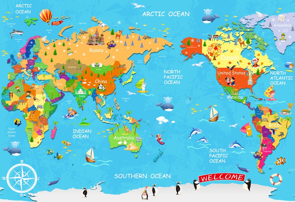 Online buy wholesale cartoon world map of the world large children new high end can custom made large mural 3d art wall paper wall stickers gumiabroncs Gallery