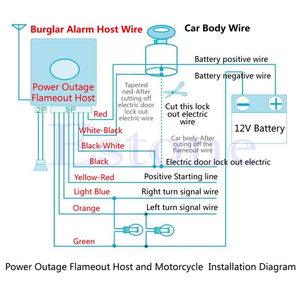 motorcycle bike security alarm system immobiliser remote control rh aliexpress com Burglar Alarm Wiring Diagram Car Alarm Diagram